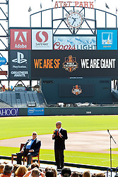SAN FRANCISCO, CA - JUNE 25:  Commissioner of Major League Baseball Rob Manfred speaks next to broadcaster Jon Miller before the game between the San Francisco Giants and the San Diego Padres at AT&T Park on June 25, 2015 in San Francisco, California.  The San Francisco Giants defeated the San Diego Padres 13-8. (Photo by Jason O. Watson/Getty Images) *** Local Caption *** Rob Manfred; Jon Miller