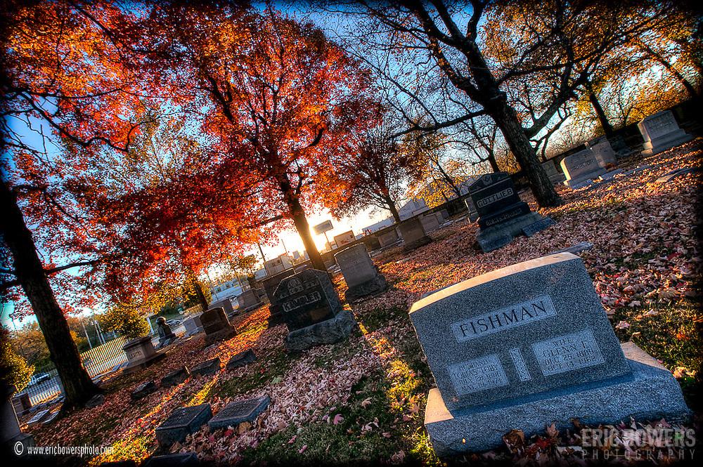 Elmwood Cemetery in Kansas City shortly before sunset.