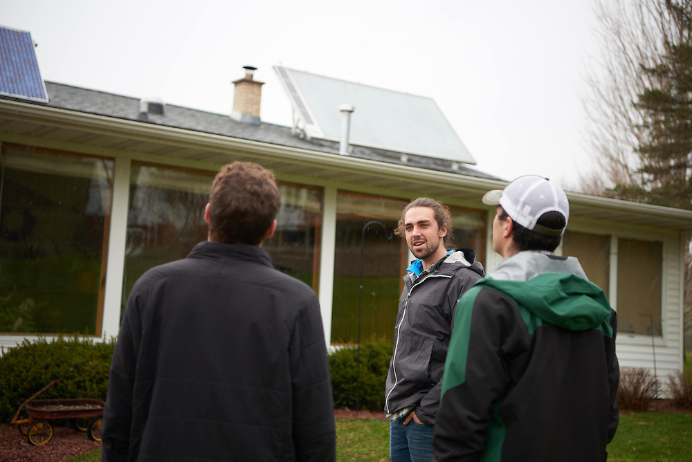 Activity; Research; Studying; Teaching; Location; Outside; People; Student Students; Spring; April; Time/Weather; day; Type of Photography; Candid; UWL UW-L UW-La Crosse University of Wisconsin-La Crosse; Field Trip Nick Nicols County Sustainablility solar panel