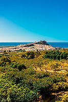 The town of Salobrena on the Costa Tropical of Granada Province, Spain with its Moorish castle atop the hill.