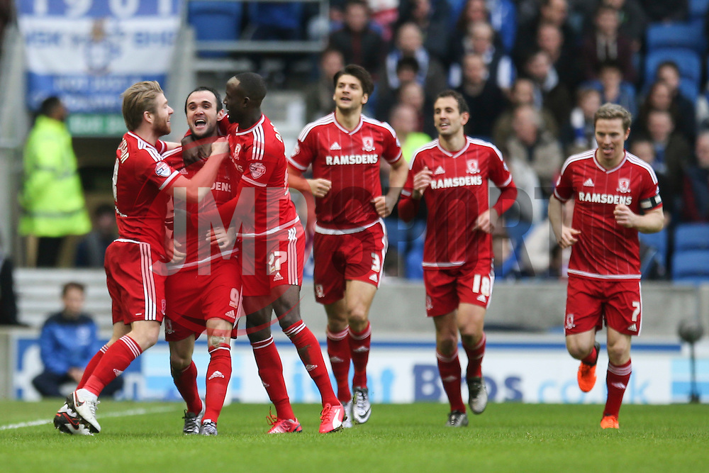 Goal, Kike of Middlesbrough scores, Brighton & Hove Albion 0-1 Middlesbrough - Mandatory byline: Jason Brown/JMP - 07966 386802 - 19/12/2015 - FOOTBALL - American Express Community Stadium - Brighton,  England - Brighton & Hove Albion v Middlesbrough - Championship