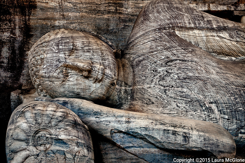 World's largest carved stone monolith of reclining Buddha, Gal Vihara (Stone Temple) Polonnaruwa, Sri Lanka