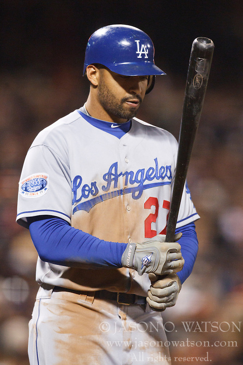 September 14, 2010; San Francisco, CA, USA;  Los Angeles Dodgers center fielder Matt Kemp (27) at bat against the San Francisco Giants during the fifth inning at AT&T Park. Los Angeles defeated San Francisco 1-0.