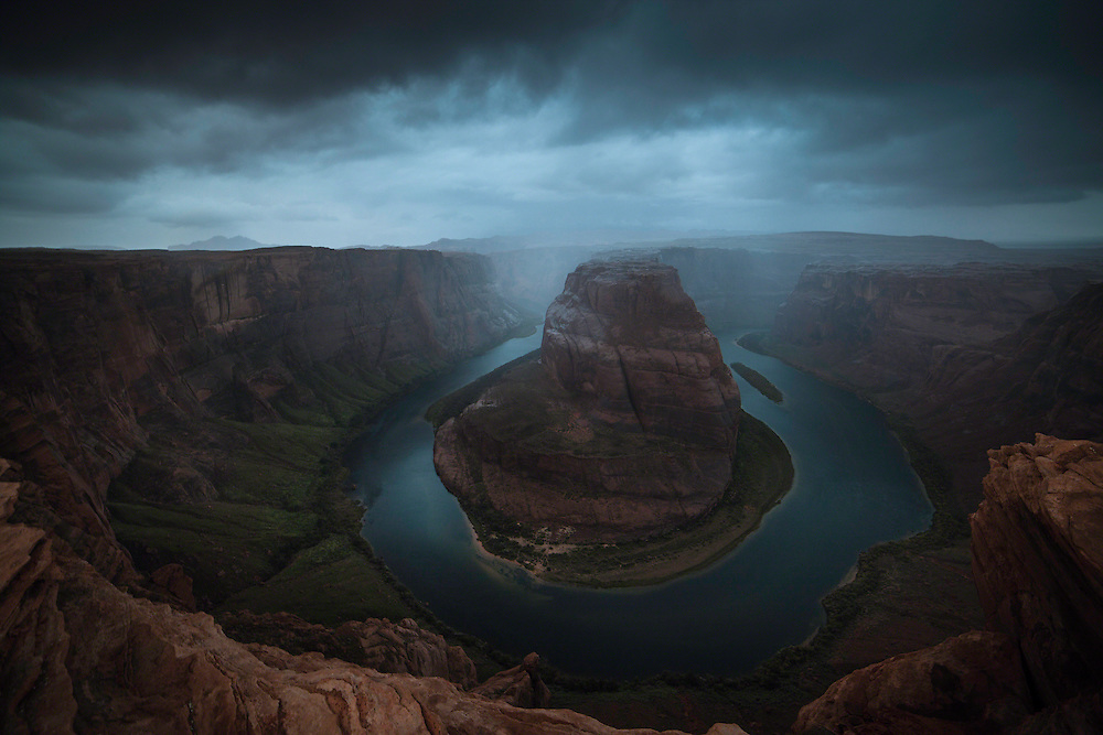 A unique shot of an iconic place: the moodiness of the weather is casting a mystical light on Horseshoe Bend.