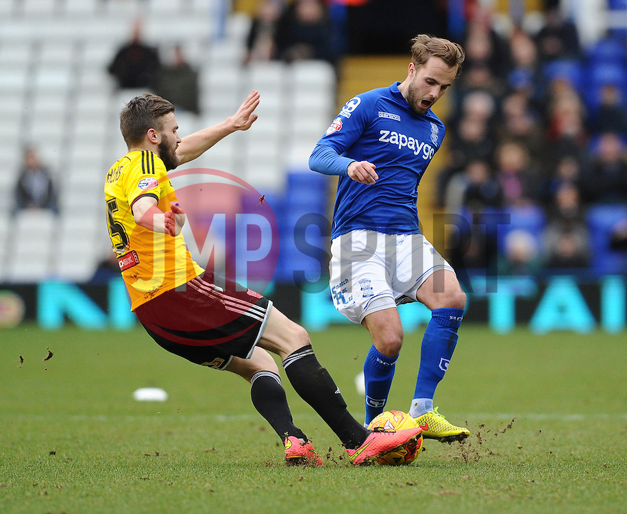Brentford's Stuart Dallas tackles Birmingham City's Andrew Shinnie  - Photo mandatory by-line: Joe Meredith/JMP - Mobile: 07966 386802 - 28/02/2015 - SPORT - Football - Birmingham - ST Andrews Stadium - Birmingham City v Brentford - Sky Bet Championship