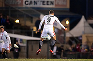 Western Sydney Wanderers forward Oriol Riera (9) gets the ball at the FFA Cup Round 16 soccer match between Bonnyrigg White Eagles FC v Western Sydney Wanderers FC at Marconi Stadium in Sydney.