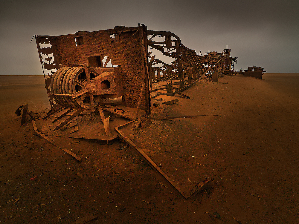 Abandoned oil drilling rig, Skeleton coast, Namibia.