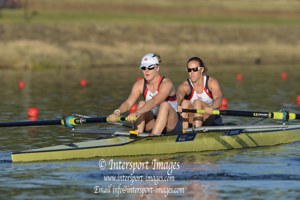 Sydney, Australia.  GBR W2-. Bow. Helen GLOVER and Polly SWANN, at the start of the Women's pairs heat. FISA World Cup I. and the Sydney International Rowing Regatta. Sydney International Rowing Centre, Penrith Lakes, NSW.   Friday   22/03/2013 [Mandatory Credit. Peter Spurrier/Intersport Images]..