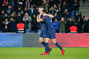 Edinson Roberto Paulo Cavani Gomez (psg) (El Matador) (El Botija) (Florestan) scored the second goal of the game, Thomas Meunier (PSG) celebration during the French Championship Ligue 1 football match between Paris Saint-Germain and ESTAC Troyes on November 29, 2017 at Parc des Princes stadium in Paris, France - Photo Stephane Allaman / ProSportsImages / DPPI