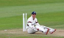 Somerset's Michael Bates smiles after running out Nottinghamshire's Matt Carter. - Photo mandatory by-line: Harry Trump/JMP - Mobile: 07966 386802 - 16/06/15 - SPORT - CRICKET - LVCC County Championship - Division One - Day Three - Somerset v Nottinghamshire - The County Ground, Taunton, England.