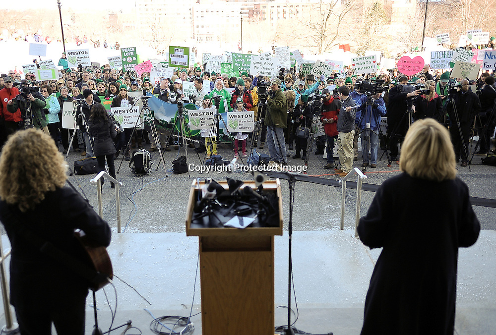 Residents of Connecticut gather for an anti gun rally in front of the capitol building in downtown Hartford, CT. on February 14, 2012.