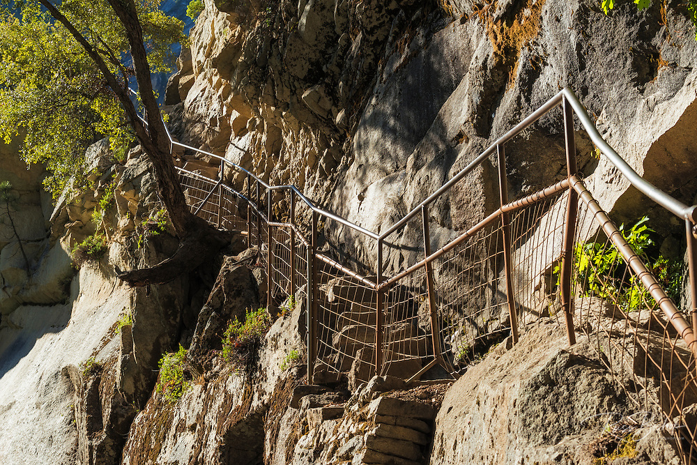 Railing and stairs on the Mist Trail, Yosemite National Park, California USA