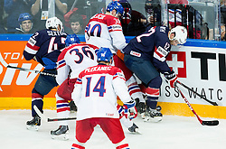 Jakub Krejcik of Czech Republic vs Ben Smith of USA during Ice Hockey match between USA and Czech Republic at Third place game of 2015 IIHF World Championship, on May 17, 2015 in O2 Arena, Prague, Czech Republic. Photo by Vid Ponikvar / Sportida