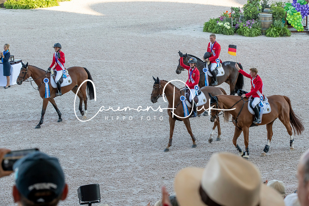 Team Germany, Bronze medal, Maurice Tebbel, Laura Klaphake, Simone Blum, Marcus Ehning, Otto Becker<br /> World Equestrian Games - Tryon 2018<br /> © Hippo Foto - Dirk Caremans<br /> 21/09/2018