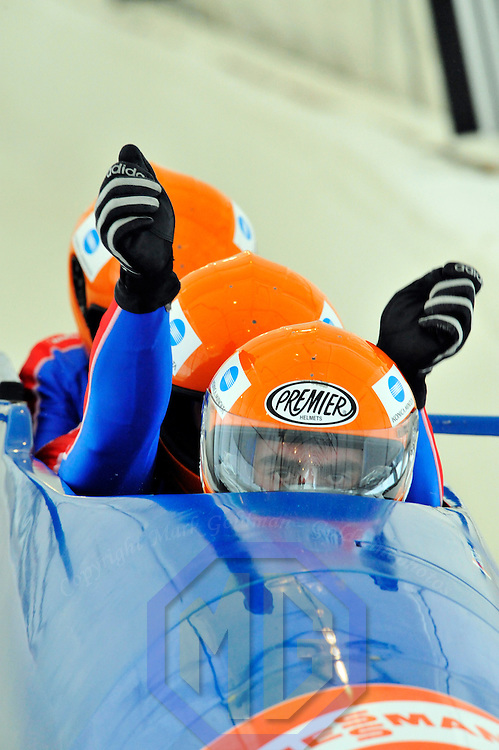 16 December 2007:  The France 1 sled driven by Michael Serise, with David Rolet, Alexandre Jolivet and brakeman Jean Bept Arnaud compete at the FIBT World Cup 4-Man bobsled competition on December 16, 2007 at the Olympic Sports Complex in Lake Placid, NY.  The Russia 2 sled driven by Alexandr Zubkov won the race with a time of 1:48.79.