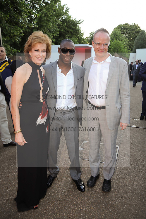 Left to right, JULIA PEYTON-JONES, DIZZEE RASCAL and HANS ULRICH OBRIST at the annual Serpentine Gallery Summer party this year sponsored by Jaguar held at the Serpentine Gallery, Kensington Gardens, London on 8th July 2010.  2010 marks the 40th anniversary of the Serpentine Gallery and the 10th Pavilion.