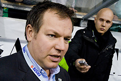 Christian Feichtinger, director of EBEL league at Press conference after Red Bull Salzburg left Ljubljana and game four of quarter final was not played, HDD Tilia Olimpija won 5:0 without a match, on March 13, 2011 at Hala Tivoli, Ljubljana, Slovenia. (Photo By Matic Klansek Velej / Sportida.com)
