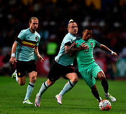Portugal's Nani (R) vies with Belgium's Nainggolan (C) during a friendly soccer match betweem Portugal and Belgium in preparation for Euro 2016 in France at Leiria Municipal Stadium, Portugal, on March 29, 2016. Portugal won 2-1. EXPA Pictures © 2016, PhotoCredit: EXPA/ Photoshot/ Zhang Liyun<br /> <br /> *****ATTENTION - for AUT, SLO, CRO, SRB, BIH, MAZ, SUI only*****