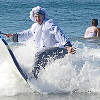Surfers compete in ZJ Boarding HouseÕs 4rth Annual Haunted Heats Halloween Surf Contest at Santa Monica beach on Saturday, October 27, 2012.