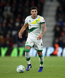 """Norwich City's Ben Godfrey during the Carabao Cup, Fourth Round match at the Vitality Stadium, Bournemouth. PRESS ASSOCIATION Photo. Picture date: Tuesday October 30, 2018. See PA story SOCCER Bournemouth. Photo credit should read: Adam Davy/PA Wire. RESTRICTIONS: EDITORIAL USE ONLY No use with unauthorised audio, video, data, fixture lists, club/league logos or """"live"""" services. Online in-match use limited to 120 images, no video emulation. No use in betting, games or single club/league/player publications."""