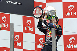 30.10.2011, Jaypee-Circuit, Noida, IND, F1, Grosser Preis von Indien, Noida, im Bild Podium - Sebastian Vettel (GER), Red Bull Racing // during the Formula One Championships 2011 Large price of India held at the Jaypee-Circui 2011-10-30. EXPA Pictures © 2011, PhotoCredit: EXPA/ nph/ Dieter Mathis +++++ ATTENTION - OUT OF GERMANY/(GER), CROATIA/(CRO), BELGIAN/(BEL) +++++