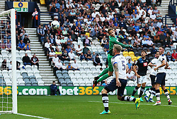 Anders Lindegaard of Preston North End looks helpless as Tom Ince's longe range effort hits the woodwork - Mandatory by-line: Matt McNulty/JMP - 16/08/2016 - FOOTBALL - Deepdale - Preston, England - Preston North End v Derby County - Sky Bet Championship