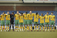 Photo: Aidan Ellis.<br /> Sheffield Wednesday v Norwich City. Coca Cola Championship. 15/04/2006.<br /> The Norwich team observe a minute silence for the Hillsbrogh Tradgedy 17 years ago to the day