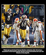 Tommy Maddox celebrates his game-winning touchdown in a win over the Browns in the playoffs.