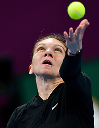 DOHA, Feb. 15, 2019  Simona Halep of Romania serves during the women's singles quarterfinal between Simona Halep of Romania and Julia Goerges of Germany at the 2019 WTA Qatar Open in Doha, Qatar, Feb. 14, 2019. Simona Halep won 2-0. (Credit Image: © Nikku/Xinhua via ZUMA Wire)