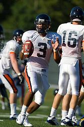 Virginia quarterback Riko Smalls (3).  The Virginia Cavaliers football team during an open practice on August 9, 2008 at the University of Virginia's football turf field in Charlottesville, VA.