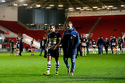 Bristol Rugby replacement Matthew Morgan and injured scrum half Dwayne Peel look dejected after Bristol lose the match - Mandatory byline: Rogan Thomson/JMP - 06/11/2015 - RUGBY UNION - Ashton Gate Stadium - Bristol, England - Bristol Rugby v Doncaster Knights - Greene King IPA Championship.