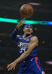 December 8, 2018 - Los Angeles, California, U.S - Tobias Harris #34 of the Los Angeles Clippers passes the ball during their NBA game with the Miami Heat on Saturday December 8, 2018 at the Staples Center in Los Angeles, California. At half, Clippers 62 vs Heat 65. (Credit Image: © Prensa Internacional via ZUMA Wire)
