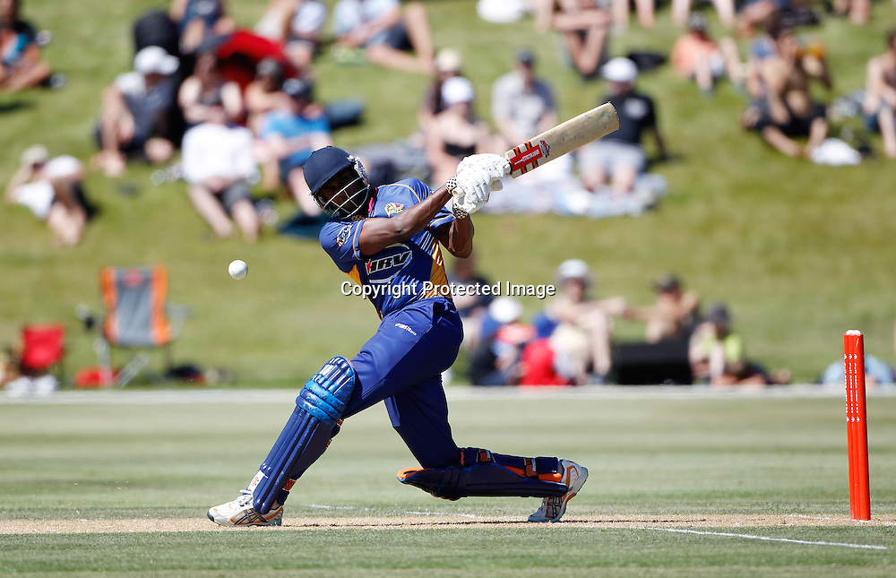 Volts Dimitri Mascarenhas hits out during the Twenty20 Cricket - HRV Cup, Otago Volts v Wellington Firebirds, Saturday 31 December 2011, Queenstown Events Centre, Queenstown, New Zealand. Photo: Michael Thomas/photosport.co.nz