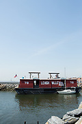 Lehigh Vallery Barge no. 79, now the Waterfront Museum & Showboat Barge, docked on the waterfront in Brooklyn's Red Hook.
