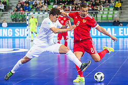 Eder Lima of Russia and Douglas Junior of Kazakhstan during futsal match between Russia and Kazakhstan in Third place match of UEFA Futsal EURO 2018, on February 10, 2018 in Arena Stozice, Ljubljana, Slovenia. Photo by Ziga Zupan / Sportida