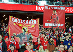 ADELAIDE, AUSTRALIA - Monday, July 20, 2015: Liverpool supporters' banners for Robbie Fowler and Steven Gerrard before a preseason friendly match against Adelaide United at the Adelaide Oval on day eight of the club's preseason tour. (Pic by David Rawcliffe/Propaganda)