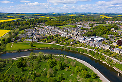 Aerial view of Coldstream beside River Tweed in Scottish Borders, Scotland, UK