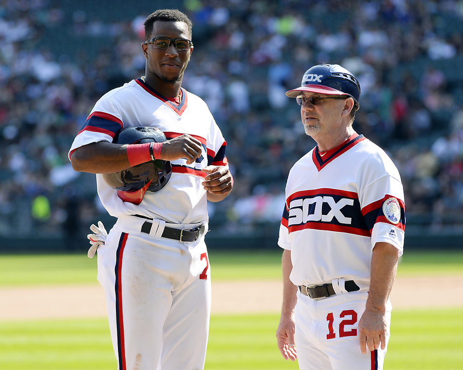 CHICAGO - SEPTEMBER 03:  Tim Anderson #7 and third base coach Nick Capra #12 of the Chicago White Sox talk during a instant replay review during the game against the Tampa Bay Rays on September 3, 2017 at Guaranteed Rate Field in Chicago, Illinois.  (Photo by Ron Vesely) Subject:   Nick Capra; Tim Anderson