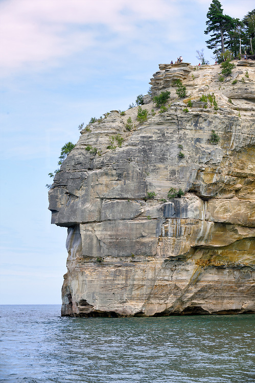 Rocky cliffs and water at scenic Picture Rocks National Lakeshore on Lake Superior in Michigan.