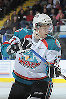 KELOWNA, CANADA - FEBRUARY 18: Jesse Astles #27 of the Kelowna Rockets skates on the ice against the Red Deer Rebels at the Kelowna Rockets on February 18, 2012 at Prospera Place in Kelowna, British Columbia, Canada (Photo by Marissa Baecker/Shoot the Breeze) *** Local Caption ***