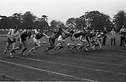 17/07/1967<br /> 07/17/1967<br /> 17 July 1967<br /> International Athletics at Santry Stadium, Dublin. Off to a sprint for the start of the Men's 880 yes, International race were on left J. O'Neill, (71) Crusaders A.C; E. Warren (86) South Africa (2nd left);  H. Khosi, (85) South Africa (4th from left); N. Carroll (69) Civil Service Harriers (5th from left); Keith Coburn (176) USA (4th from right); V. Jacklin, (151) South Africa (3rd from right) and T.Kelly (52) Crusaders A.C. on far right. Other runners are T. Power, UCD; P. Durnin, Mervue A.C. and Barrow, Scotland.