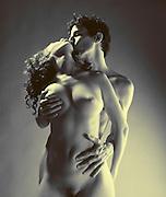 full body Nude erotic couple in silver halide duotone