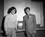 03/01/1975.01/03/1975.3rd January 1975.The Aer Lingus Young Scientist Exhibition at the RDS, Dublin...Picture shows Kieran Kelly(left) who won second prize in Senior Mathematics and Seamus O'Byrne, who won third prize in the same section both from St. Fintan's High School Sutton, who both did projects on Roots.
