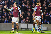 Jack Grealish (Capt) (Aston Villa) celebrates the goal 1-1 during the Premier League match between Brighton and Hove Albion and Aston Villa at the American Express Community Stadium, Brighton and Hove, England on 18 January 2020.