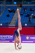 Garbarino Monica during the qualification at the Pesaro World Cup in 2018. Monica is an athlete of San Marino Republic.