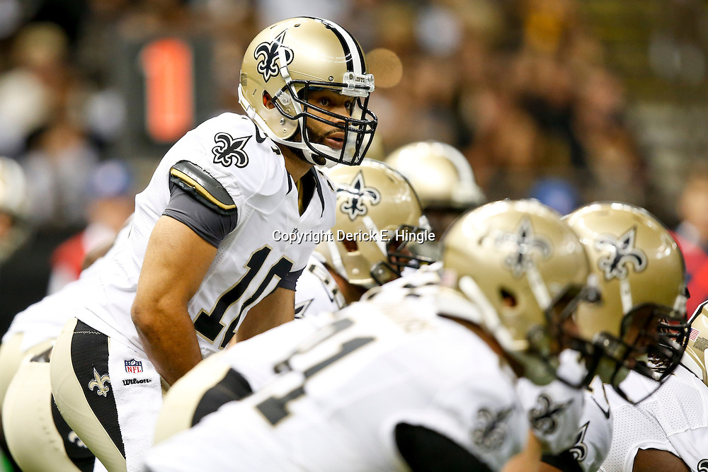 Aug 16, 2013; New Orleans, LA, USA; New Orleans Saints quarterback Seneca Wallace (10) against the Oakland Raiders during the second half of a preseason game at the Mercedes-Benz Superdome. The Saints defeated the Raiders 28-20. Mandatory Credit: Derick E. Hingle-USA TODAY Sports