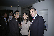 Gautam Malkani, Monica Malkani and Peter Straus, Waterstone's celebrate 25 Years in Books.  Waterstone's Piccadilly. London. 16 May 2007.  -DO NOT ARCHIVE-© Copyright Photograph by Dafydd Jones. 248 Clapham Rd. London SW9 0PZ. Tel 0207 820 0771. www.dafjones.com.