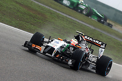 19.04.2014, International Circuit, Shanghai, CHN, FIA, Formel 1, Grand Prix von China, Qualifying Tag, im Bild Sergio Perez (MEX) Force India VJM07. // during the Qualifyingday of Chinese Formula One Grand Prix at the International Circuit in Shanghai, China on 2014/04/19. EXPA Pictures © 2014, PhotoCredit: EXPA/ Sutton Images/ Mina<br /> <br /> *****ATTENTION - for AUT, SLO, CRO, SRB, BIH, MAZ only*****