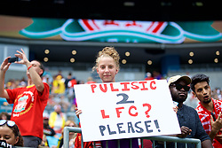 """CHARLOTTE, USA - Sunday, July 22, 2018: A Liverpool supporter with a sign """"Pulisic 2 LFC? Please"""" during a preseason International Champions Cup match between Borussia Dortmund and Liverpool FC at the  Bank of America Stadium. (Pic by David Rawcliffe/Propaganda)"""