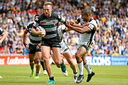 Hull FC prop Liam Watts (10) gets free and scores a try during the Challenge Cup 2017 semi final match between Hull RFC and Leeds Rhinos at the Keepmoat Stadium, Doncaster, England on 29 July 2017. Photo by Simon Davies.